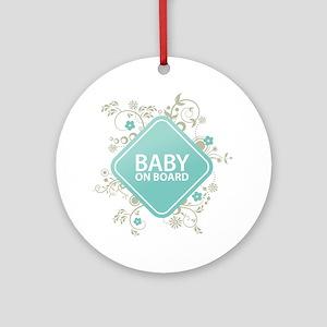 Baby on Board - Boy Round Ornament