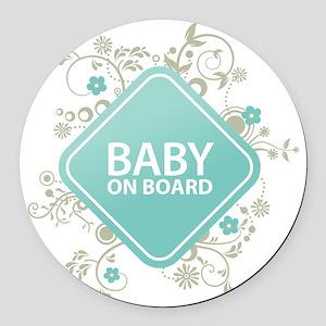 Baby on Board - Boy Round Car Magnet