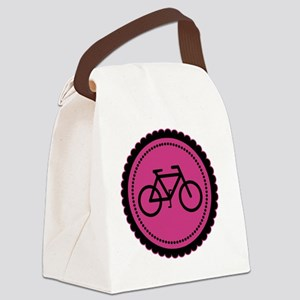 raspberry pink bike Canvas Lunch Bag