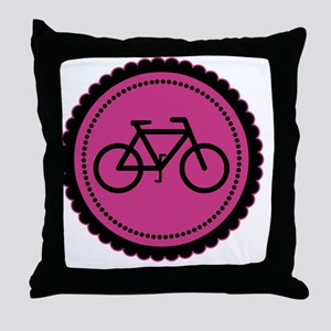 raspberry pink bike Throw Pillow