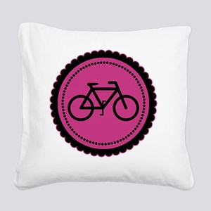 raspberry pink bike Square Canvas Pillow