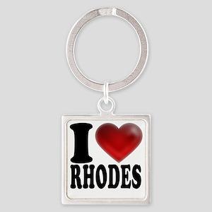 I Heart Rhodes Square Keychain