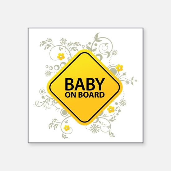 "Baby on Board - Baby Square Sticker 3"" x 3"""
