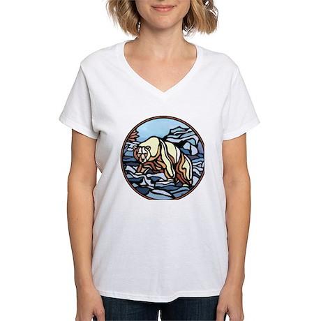Polar Bear Art Women's V-Neck T-Shirt