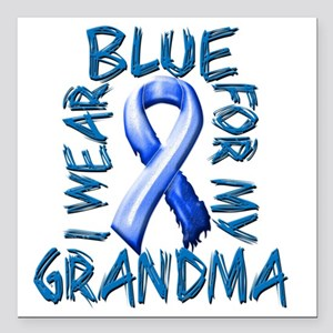 """I Wear Blue for my Grand Square Car Magnet 3"""" x 3"""""""