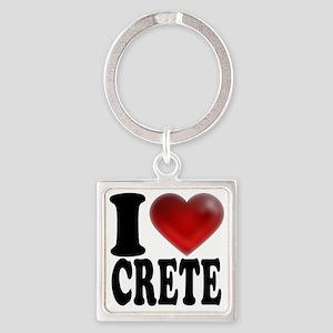 I Heart Crete Square Keychain