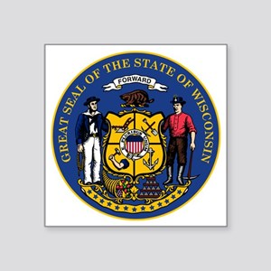 "Wisconsin State Seal Square Sticker 3"" x 3"""