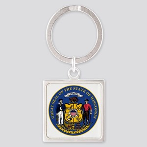 Wisconsin State Seal Square Keychain