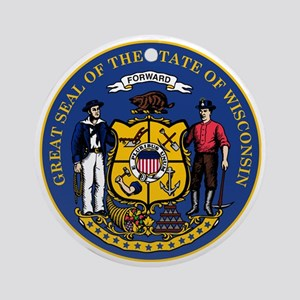 Wisconsin State Seal Round Ornament
