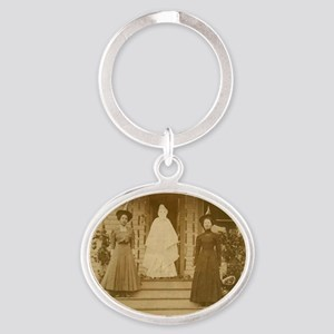 Vintage Halloween Photograph Witches Oval Keychain