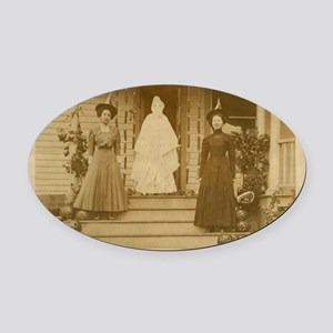 Vintage Halloween Photograph Witch Oval Car Magnet