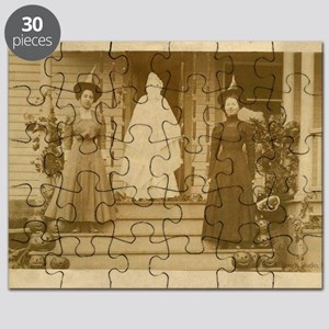 Vintage Halloween Photograph Witches and Gh Puzzle
