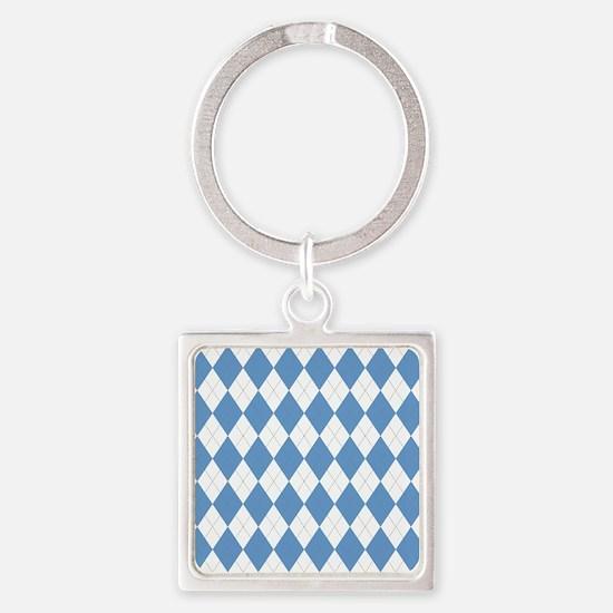 Carolina Blue Argyle Sock Pattern  Square Keychain