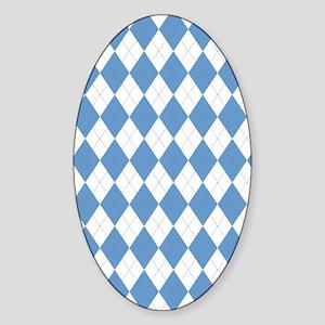 Carolina Blue Argyle Sock Pattern N Sticker (Oval)