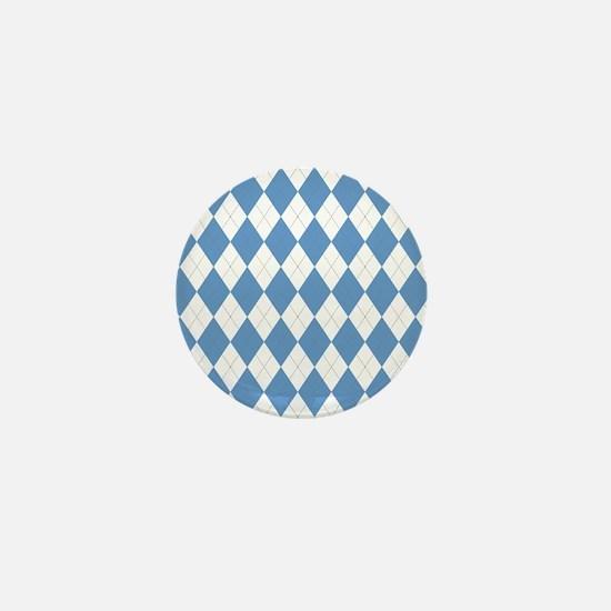 Carolina Blue Argyle Sock Pattern Nort Mini Button