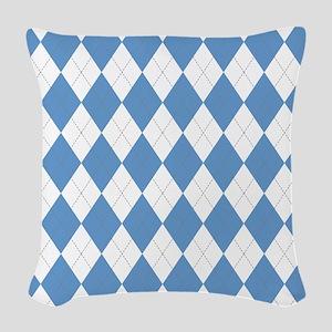 Carolina Blue Argyle Sock Patt Woven Throw Pillow