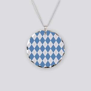 Carolina Blue Argyle Sock Pa Necklace Circle Charm
