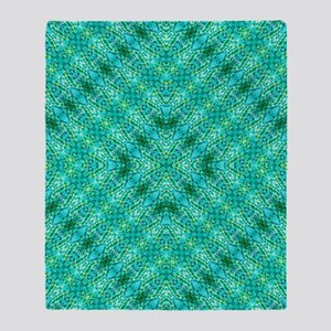 Diamond Green Blue Batik Throw Blanket