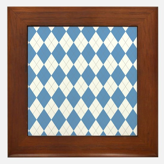 Carolina Blue Argyle Sock Pattern Nort Framed Tile