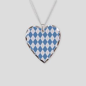 Carolina Blue Argyle Sock Pat Necklace Heart Charm