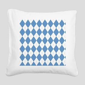 Carolina Blue Argyle Sock Pat Square Canvas Pillow