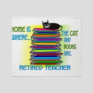 Retired Teacher home cat books Throw Blanket