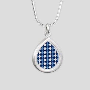 Carolina Blue Argyle Soc Silver Teardrop Necklace