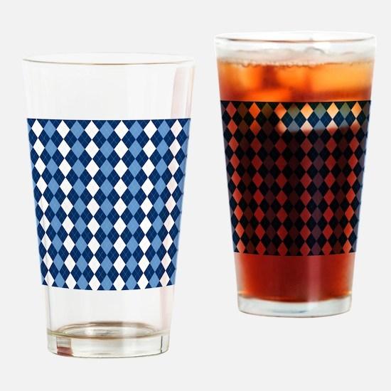 Carolina Blue Argyle Sock Pattern N Drinking Glass