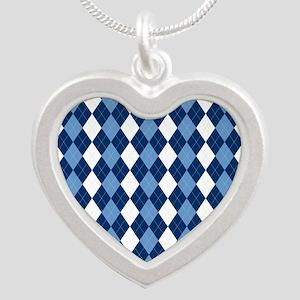 Carolina Blue Argyle Sock Pa Silver Heart Necklace