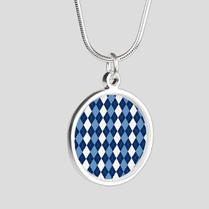 Carolina Blue Argyle Sock Pa Silver Round Necklace