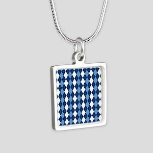 Carolina Blue Argyle Sock  Silver Square Necklace