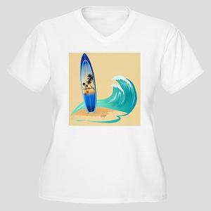 Surfboard Women's Plus Size V-Neck T-Shirt