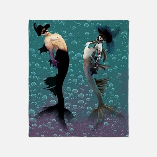 Carnival Mermaid Merman Shower Throw Blanket