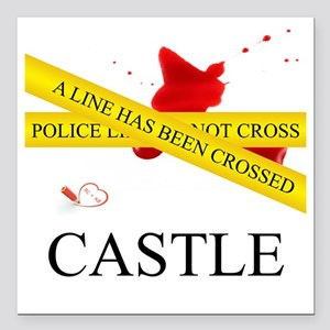 "Castle: A Line Has Been  Square Car Magnet 3"" x 3"""