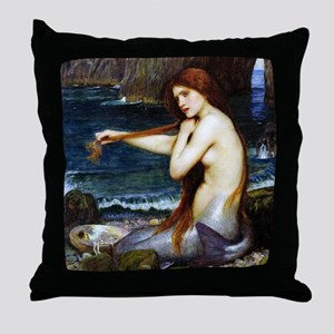 John William Waterhouse Mermaid. Throw Pillow