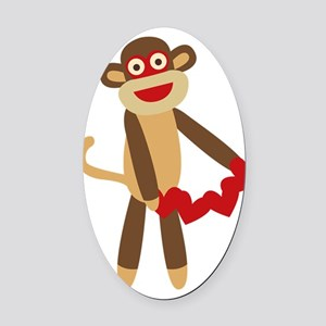 Sock Monkey with Hearts Oval Car Magnet