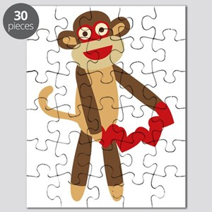 Sock Monkey with Hearts Puzzle