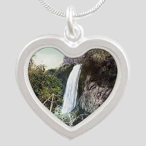South Dakota Spearfish Falls Silver Heart Necklace