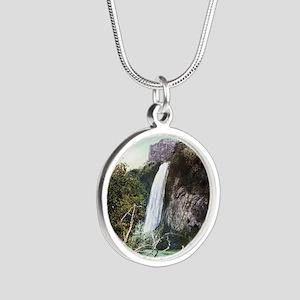 South Dakota Spearfish Falls Silver Round Necklace