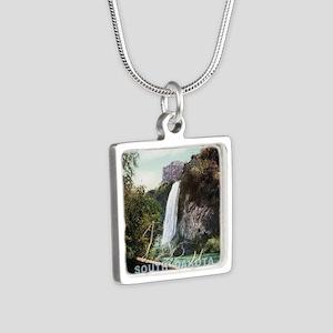South Dakota Spearfish Fal Silver Square Necklace