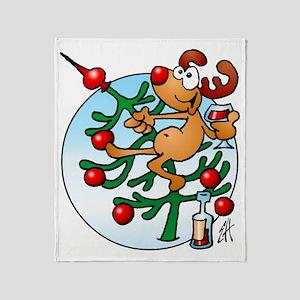 Reindeer in the Christmas tree Throw Blanket