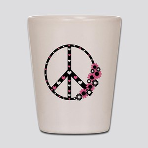 Peace Sign with Hearts and Flowers Shot Glass