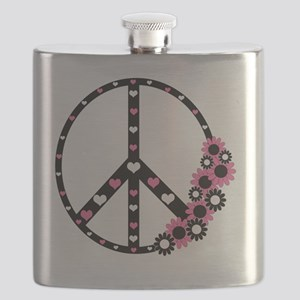 Peace Sign with Hearts and Flowers Flask