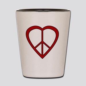 Red Heart Peace Sign Shot Glass