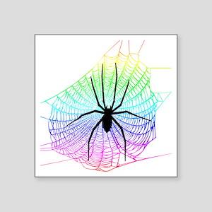 "Spider Rainbow web Square Sticker 3"" x 3"""