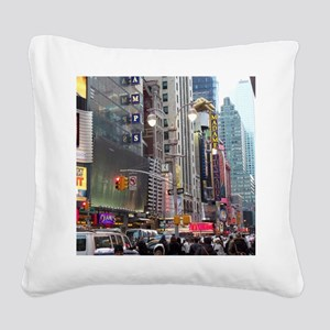 Busy New York Square Canvas Pillow