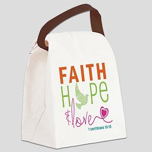 Faith Hope & Love Canvas Lunch Bag
