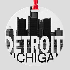 Detroit Skyline Round Ornament