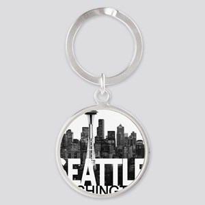 Seattle Skyline Round Keychain