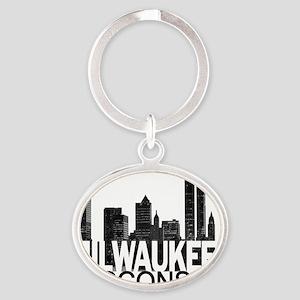 Milwaukee Skyline Oval Keychain